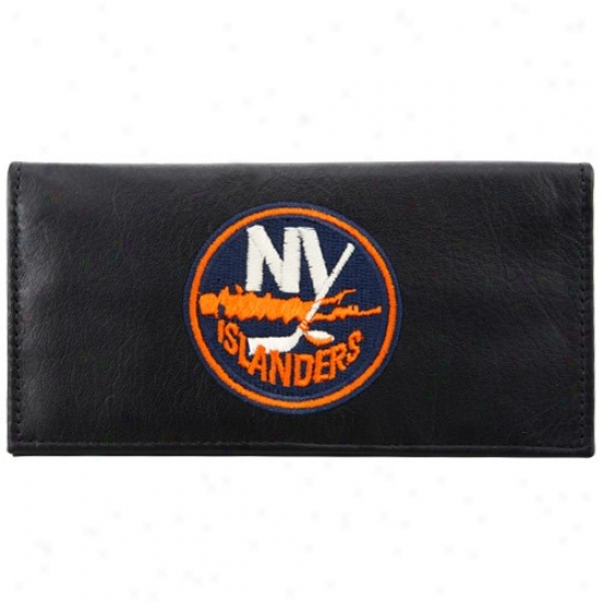 New York Islanders Black Leather Embroidered Checkbook Cover