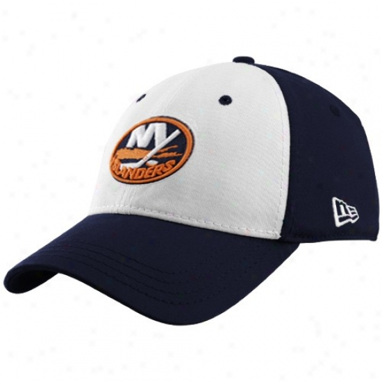 New York Islanders Cap : New Era New York Islanders Navy Blue 39thirty Stretch Fit White Front Cap