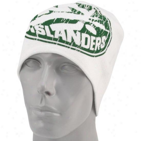 New York Islanders Cap : Reebok Starting a~ York Islanders White St. Patrick's Day Cuffless Knit Beanie