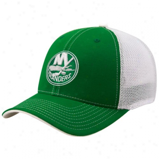 New York Islanders Cap : Reebok Novel York Islanders Kelly Green St. Patrick's Day Structured Mesh Back Flex Fit Cap