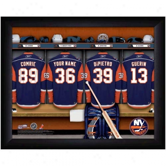 New York Islanders Customized Locker Room Black Framed Photo