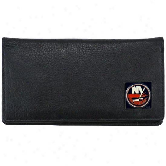 Novel York Islanders Executive Black Leather Checkbook Cover