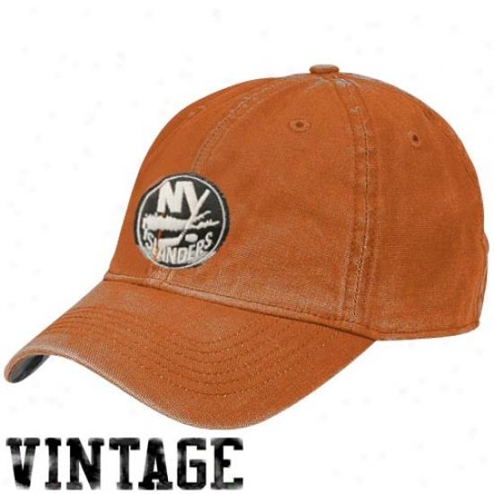 New York Islanders Gear: Reebok New York Islanders Orange Distressed Logo Vintage Slouch Hat
