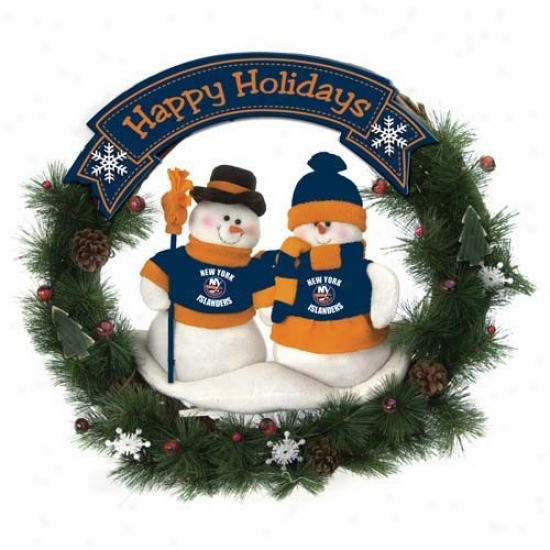 New York Islanders Happy Holidays Wreath