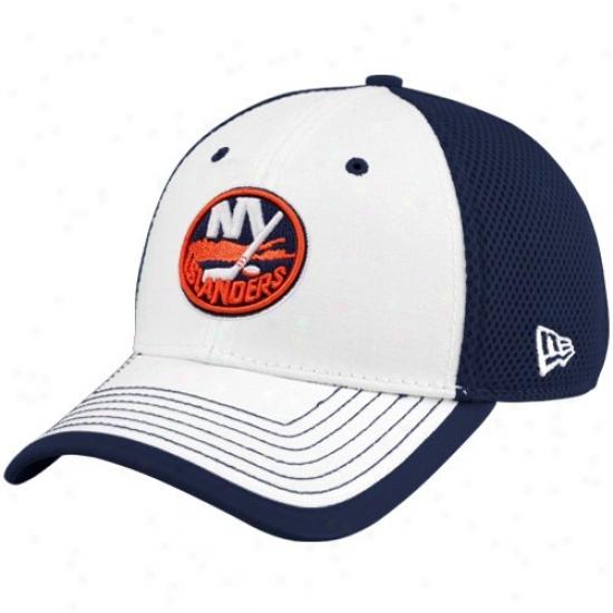New York Islanders Hats : New Era New York Islandees White-navy Blue Neo 39thirty Stretch Fit Hats