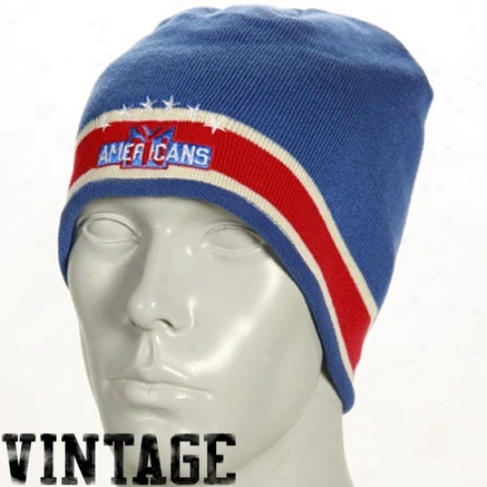 New York Islanders Hats : Reebok New Yrok Americans Royal Blue Throwback Knit Beanie