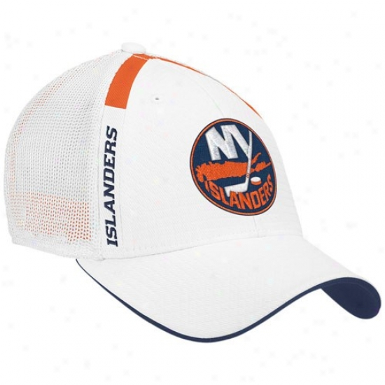 New York Islanders Hats : Reebok New York Islanders White  Nhl Drawing Appointed time Flex Fit Hats