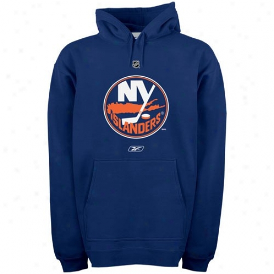 New York Islanders Hoody : Reebko New York Islanders Navy Blue Primary Logo Hoody