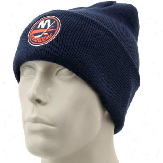 New York Islanders Merchandise: Reebok New York Islanders Navy Blue Watch Knig Beanie