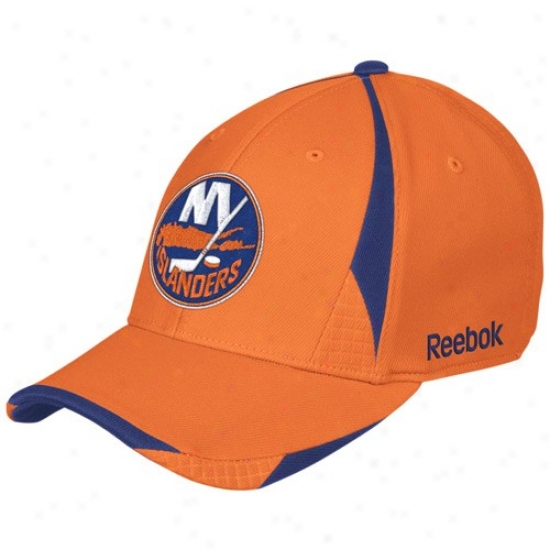 New York Islanders Merchandise: Reebok New York Islanders Orange Player 2nd Season Flex Fit Hat