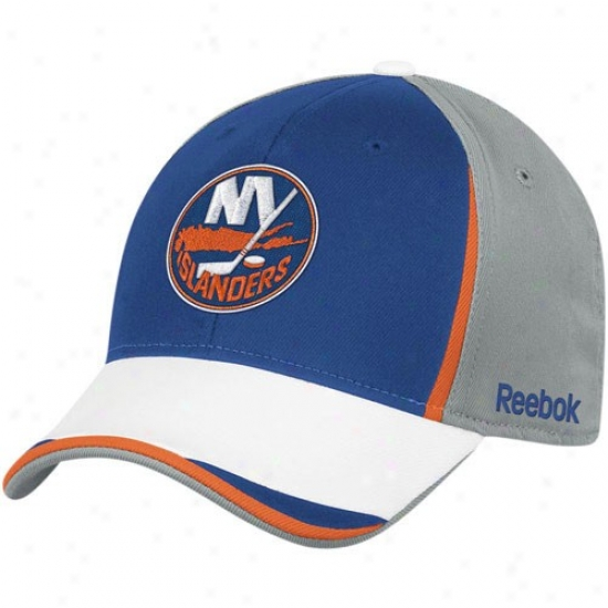 New York Islanders Merchandise: Reebok New York Islanders Gray-roya lBlue Nhl 2010 Draft Day Flex Fit Hat