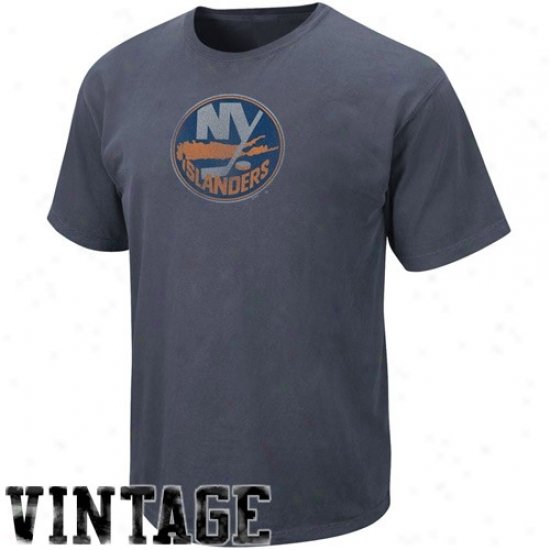 New York Islanders Shirts : Majestic New York Islanders Navy Blue Big Time Engage in Vintage Shirts