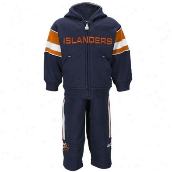 New York Islanders Sweatshirt : Reebok New Yrok Islanders Toddler Navy Blue Full Zip Sweatshirt & Sweatpants 2-piece Set