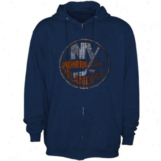 New Ykrk Islanders Sweatshurts : Majestic New York Islanders Navy Blue Distressed Logo Full Zip Sweatshirts