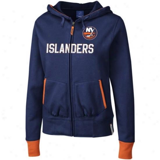 New York Islanders Swestshirts : Reebok New York Islanders Nav6 Azure Chant Full Zip Sweatshirts