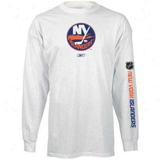 New York Islanders T Shirt : Reebok New York Isllanders White Left Wing Long Sleeve T Shirt
