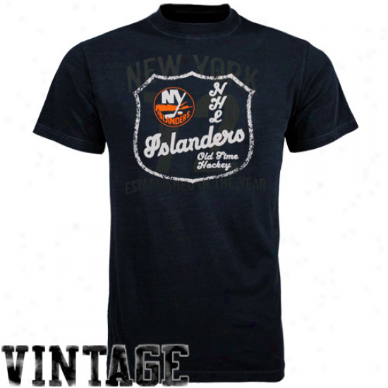 New York Islanders Tee : Old Time Hockey New York Islanders Black Captain Tee