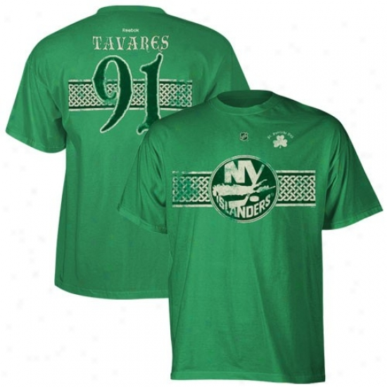 New York Islanders Tee : Reebok New York Islanders #91 John Tavares Kelly Green St. Patrick's Day Celtic Player Ted