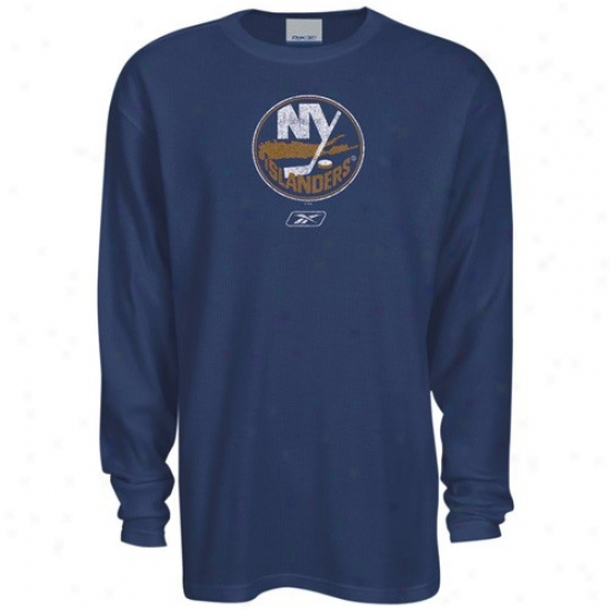 New York Islanders Tees : Reebok New York Islanders Navy Blue Faded Logo Long Sleeve Warm Tees