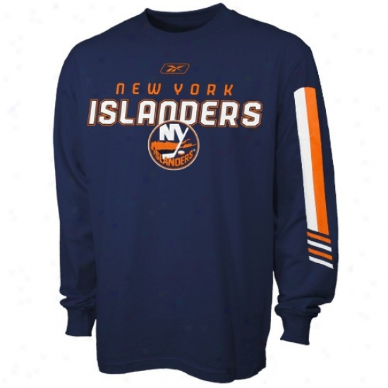 New York Islanders Tshirts : Rwebok New York Islanders Navy Pedantic  Sharp Edge Long Sleeve Tshirts
