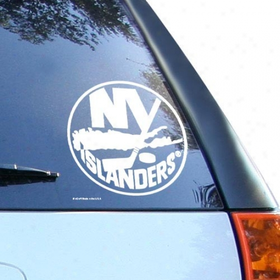 New York Islanders White 8'' X 8'' Logo Decal