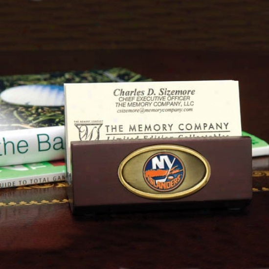 New York Islanders Wooden Business Card Holder
