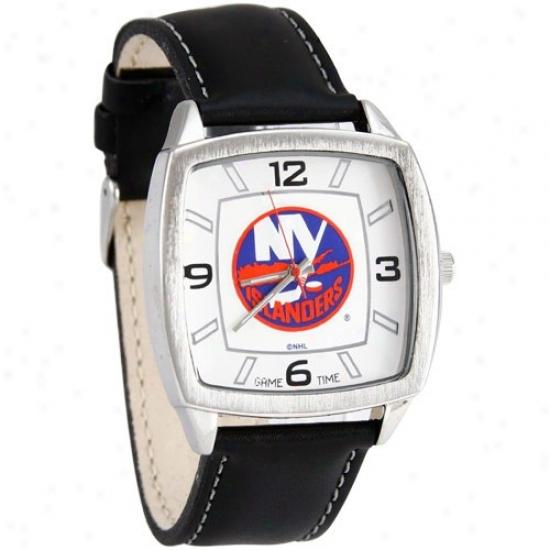 New York Islanders Wrist Watch : New York Islanders Retro Wrist Watch W/ Leather Band