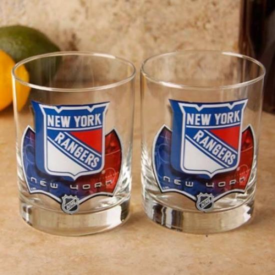 New York Rangers 2-pack Enhanced Hi-def 14oz. Executive Rocks Glass