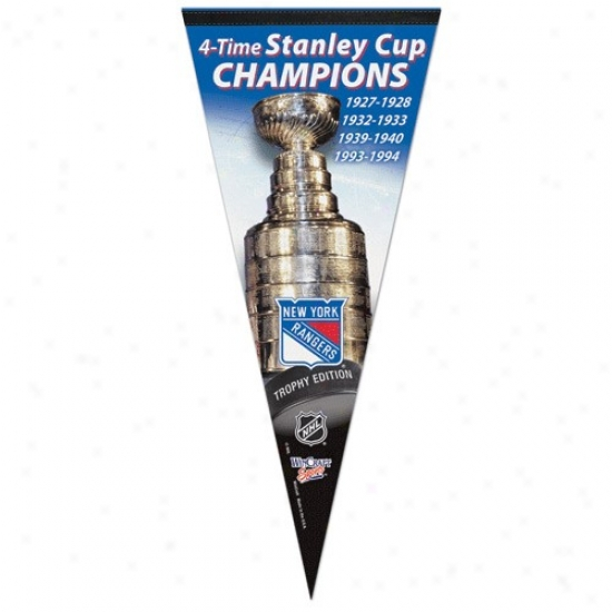 New York Rangers 4x Stanley Cup Champions 17'' X 40'' Perpendicular Premium Felt Pennant