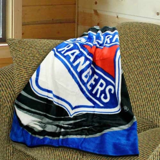 New York Rangers 50x60 Royal Plush Blanket Throw