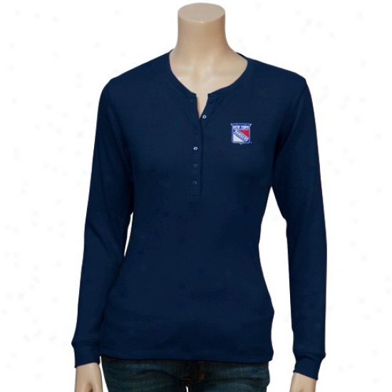New York Rangers Apparel: Antigua New York Rangers Navy Blue Ladies Brilliant Long Sleeve T-shirt