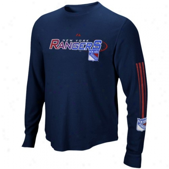 New York Rangers Apparel: Majestic New York Rangers Navy Blue Extreme Hustle Long Sleeve T-shirt