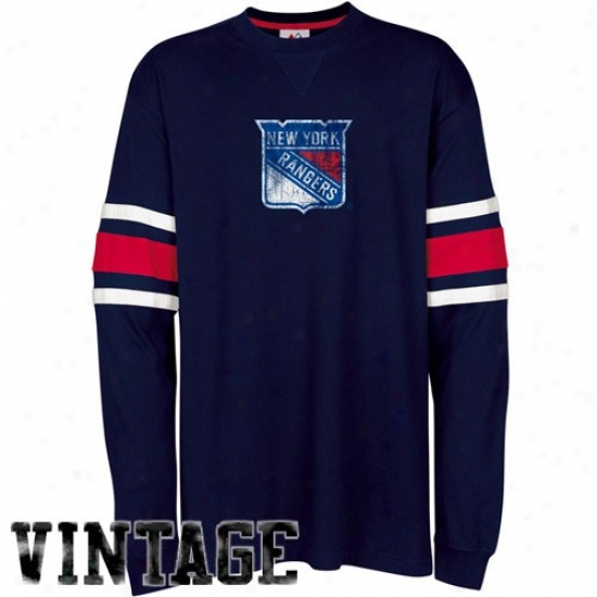 New York Rangers Apparel: Majestic Unaccustomed York Rangers Navy Blue End Of The Line Long Sleeve Vintage T-shirt