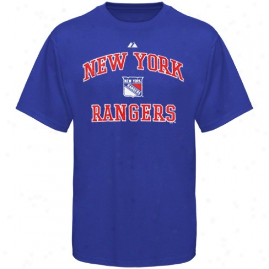 Unaccustomed York Rangers pAparel: Majestic New York Rangers Youth Royal Blue Heart & Soul Ii T-shirt