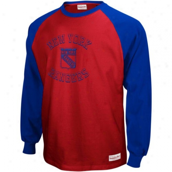 New York Rangers Apparel: Mi5chell & Ness New York Rangers Royal Ble-red Indifferent Zone Long Sleeve Raglan T-shirt