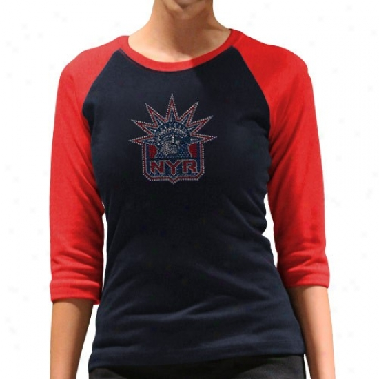 New York Rangers Apparel: New York Rangers Ladies Navy Blue-red Rhinestone 3/4 Sleeve Raglan Peemium T-shirt