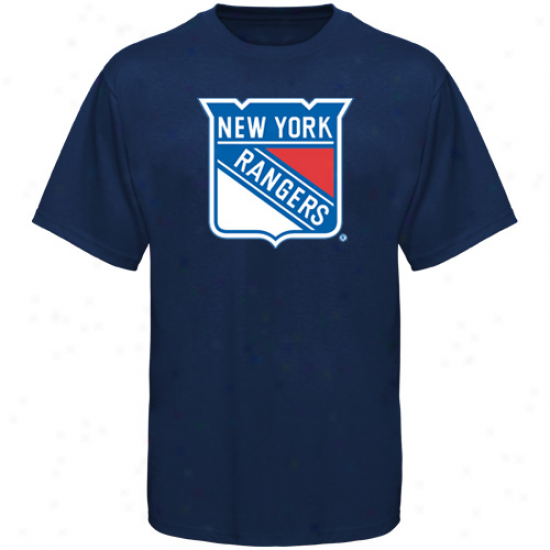 New York Rangers Apparel: Old Time Hockey New York Rangers Navy Blue Big Logo T-shirt