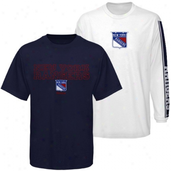 New York Rangers Apparel: Reebok New York Rangers Navy Blue-white 3-in-1 T-shirt Combo Collection