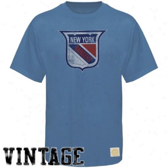 New York Rangers Apparel: Reebok New York Rangers Light Blue Retro Logo Fitted T-shirt