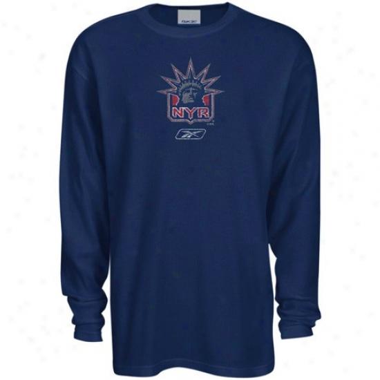 New York Rangers Apparel: Reebok New York Rangers Navy Blue Faded Logo Long Sleeve Thermzl T-shirt