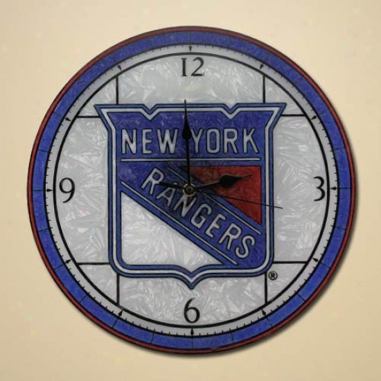 New York Rangers Art-glass Wall Clock