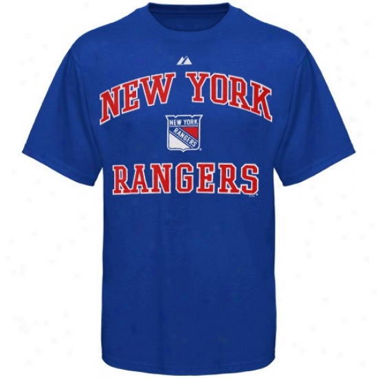 New York Rangers Attire: Splendid New York Rangers Royal Blue Heart And Soul Ii T-shirt