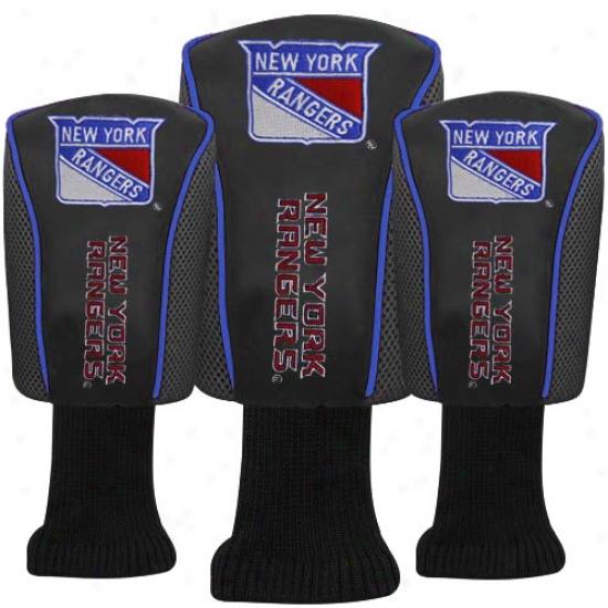 New York Rangers Black 3-pack Golf Club Headcovers