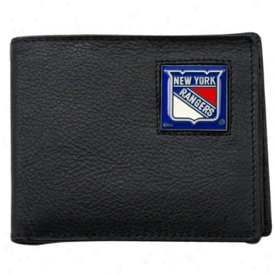 New York Rangers Black Bi-fold Leather Executive Wallet