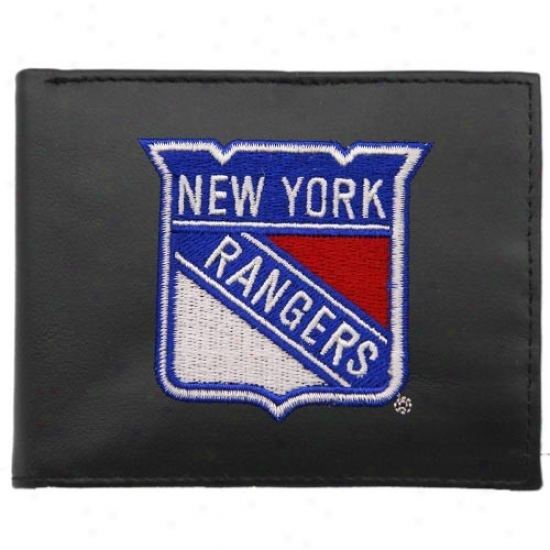 New York Ranyers Black Embroidered Billfold Wallet