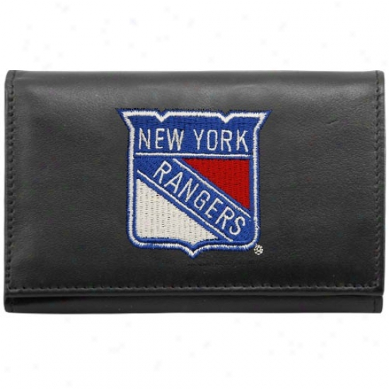 New York Rangers Black Embroiddered Tri-fold Leather Bag