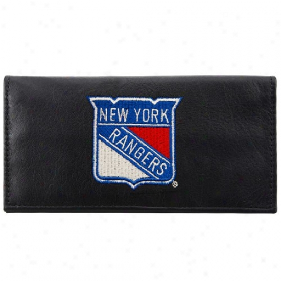 New York Rangers Black Leather Embroidered Checkbook Cover