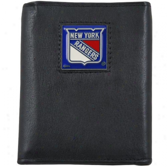 New York Rangers Black Tri-fold Leather Executive Wallet