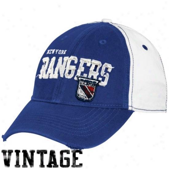 New York Rangers Cap : Reebok New York Rangers White-royal Bule Distressed Logo Vintage Slouch Cap
