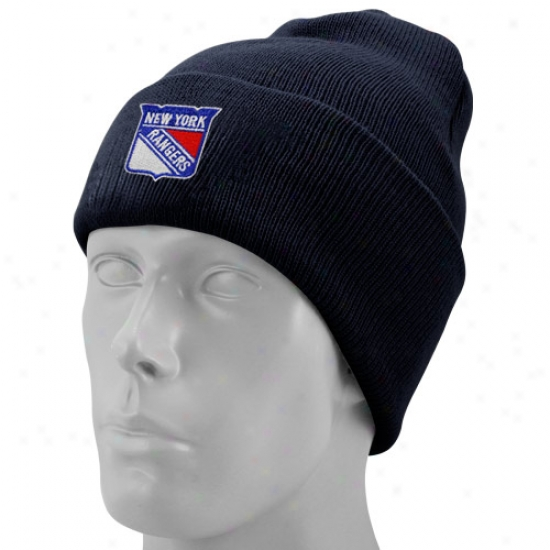 New York Rangers Caps : Reebok New York Rangers Navy Blue Watch Knit Beanie